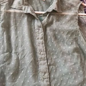 H&M Tops - Light sage green button up sheer and sleeveless